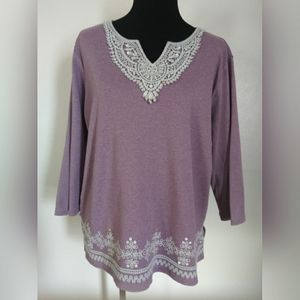 Alfred Dunner 3/4 sleeve crochet design top